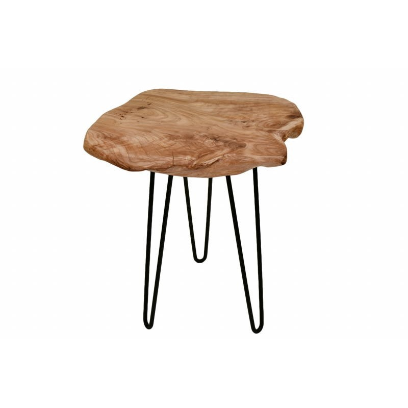 End table, end table ELISE metal and cedar wood (natural) - image 42706
