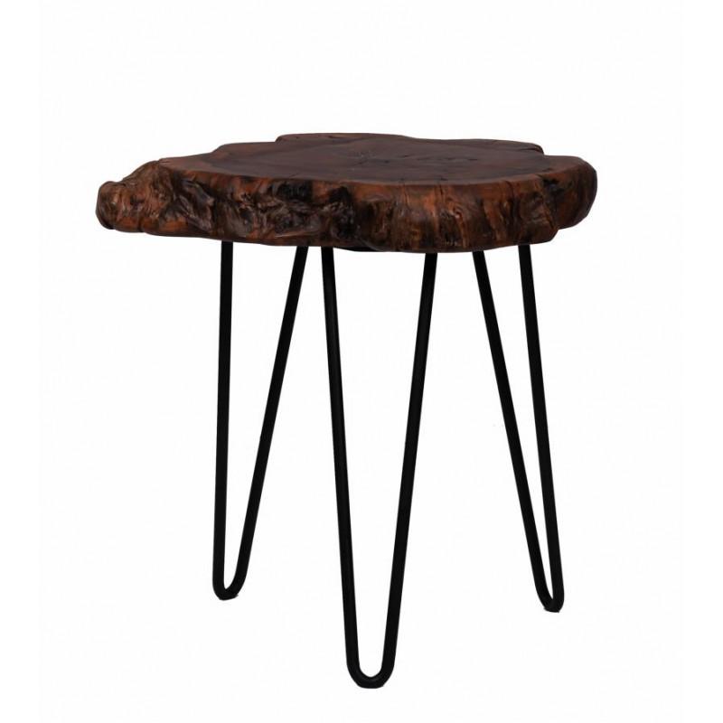 Fine tabella, tabella di estremità VESNA in metallo e legno (naturale)