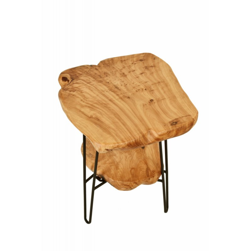 Side table double trays, side table MYRIAMME metal and cedar wood (natural)