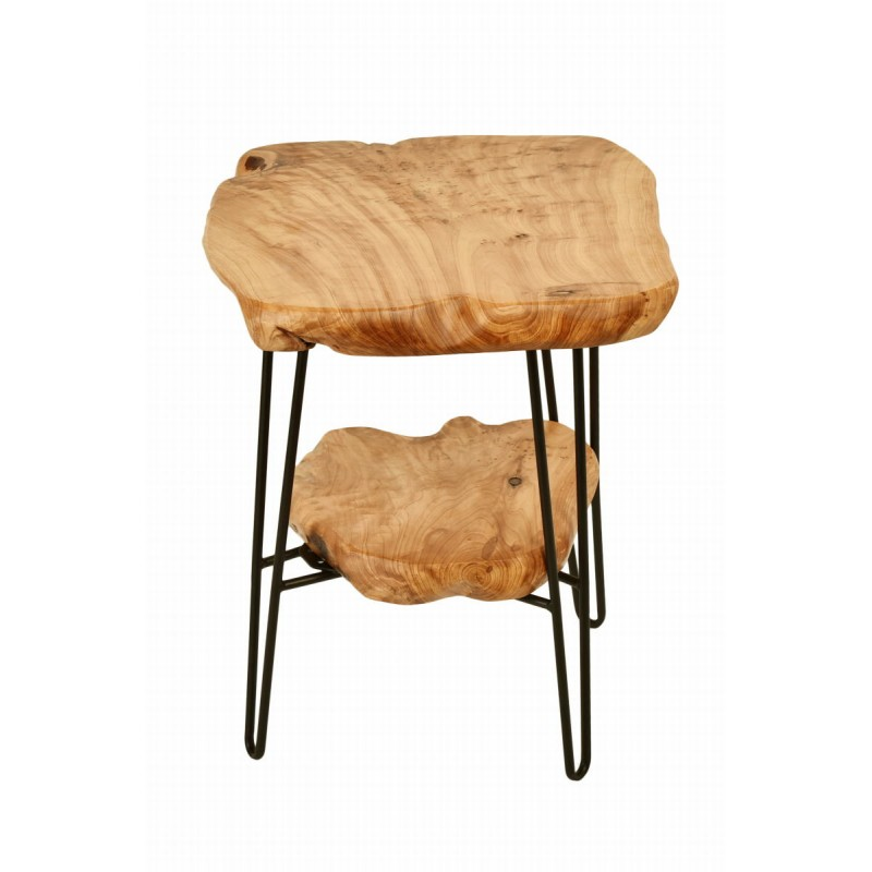Side table double trays, side table MYRIAMME metal and cedar wood (natural) - image 42727