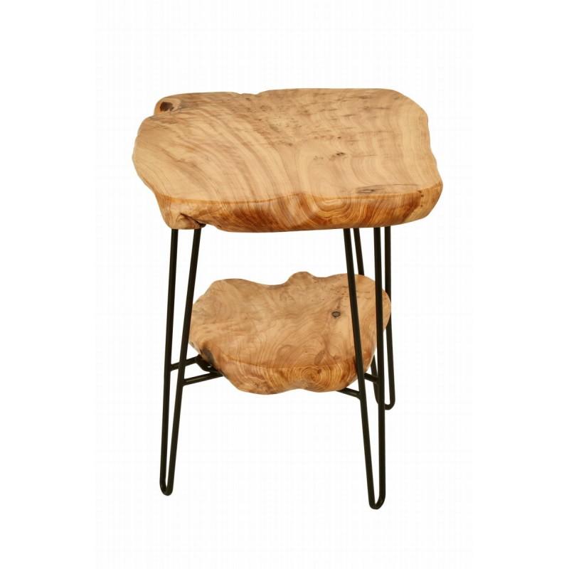 Lato tavolo vassoi doppi, tavolino metallo MYRIAMME e legno di cedro (naturale) - image 42727