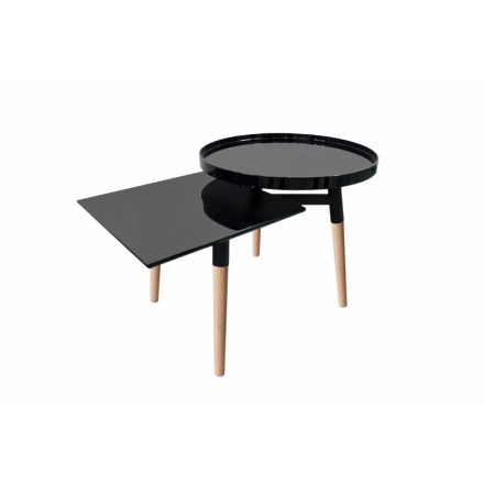 Side table 2 trays, side table EMILIE in metal and wood (black)