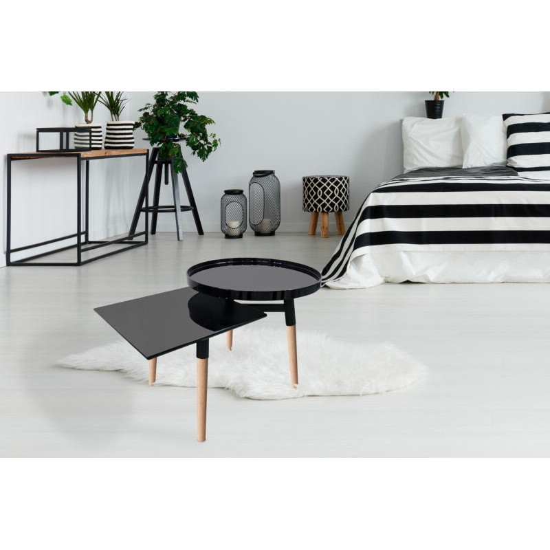 Side table 2 trays, side table EMILIE in metal and wood (black) - image 42746