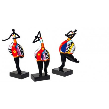 Set de 3 statues sculptures décoratives design FEMME RUMBA en résine H51 (multicolore)
