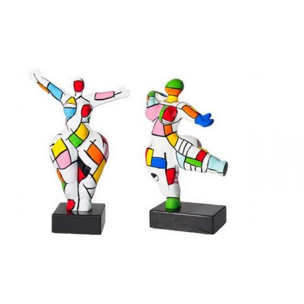 Set di 2 sculture statue decorative design coppia in resina (multicolor)
