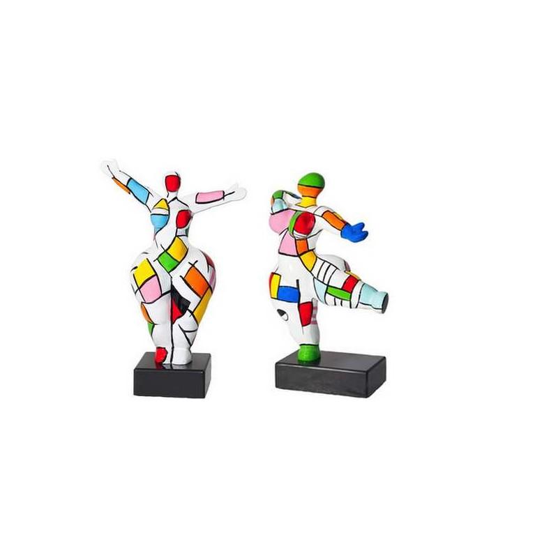 Set di 2 statue sculture decorative disegno COUPLE in resina H34 (multicolore) - image 42874
