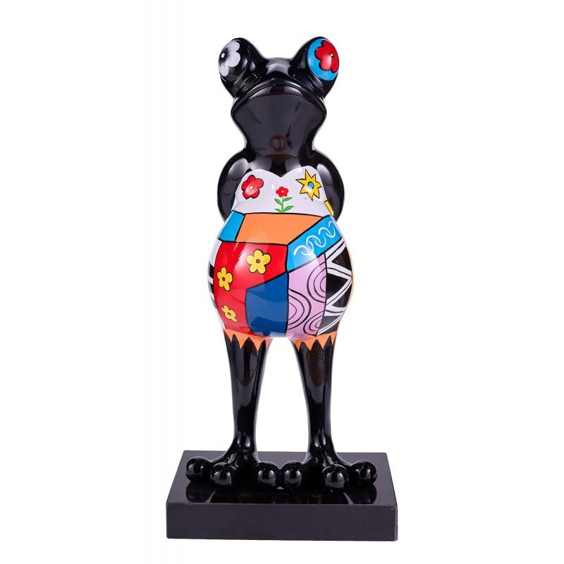 Statue sculpture décorative design GRENOUILLE PSYCHEDELIQUE en résine H68 (multicolore) - image 42875