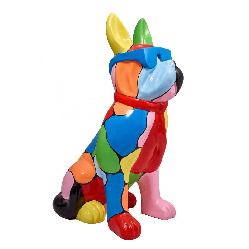Resin statue sculpture decorative design dog A glasses standing H102 (multicolor)