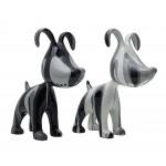 Set de 2 sculptures design COUPLE DE CHIENS en résine H38 (gris)