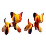 Set de 2 sculptures design COUPLE DE CHATS en résine H27 (multicolore)