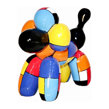 Statue sculpture décorative design CHIEN BALLON en résine H32 cm (multicolore)