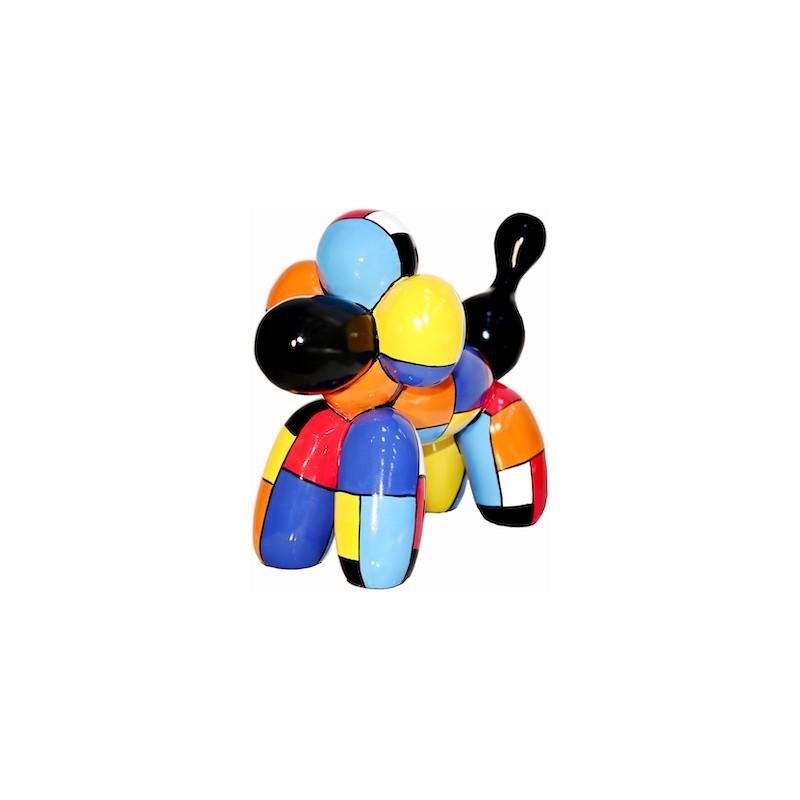 Resin statue sculpture decorative design dog ball H32 cm (multicolor)
