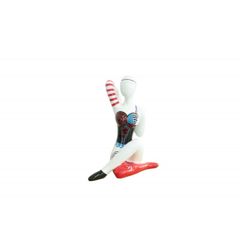 Statue sculpture décorative design FEMME ASSISE jambes croisées en résine H54 cm (multicolore) - image 42907