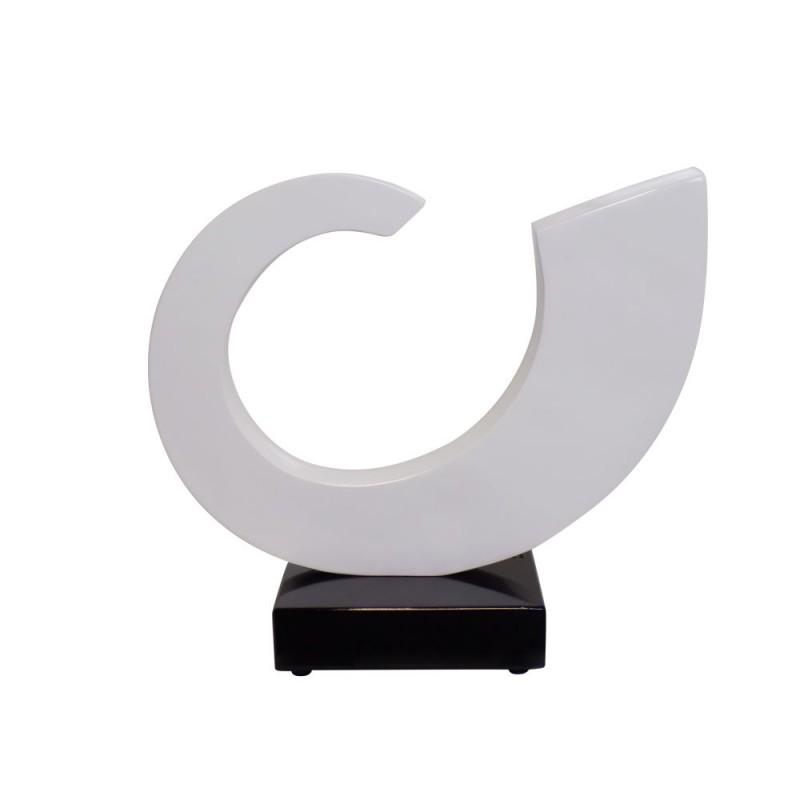Statue sculpture décorative design enceinte Bluetooth SUN en résine (Blanc)