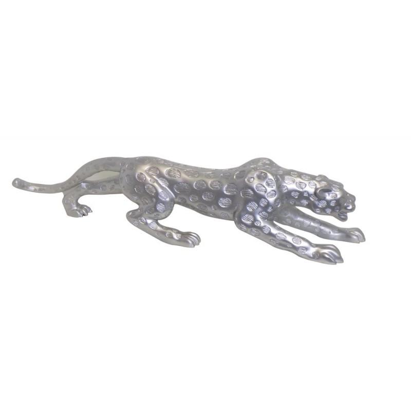Statua disegno scultura decorativa incinta Bluetooth LEOPARD XL resina (argento) - image 43029