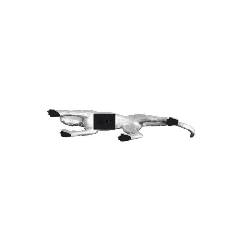 Statua disegno scultura decorativa incinta Bluetooth LEOPARD in resina (argento) - image 43082
