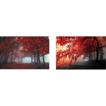 Lot von 2 Tischen auf Glas ARBRE (90 x 60 cm) (rot)