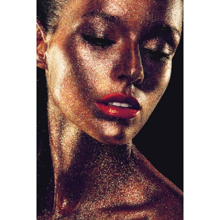 Woman VISAGE glass table (80 x 120 cm) (golden)