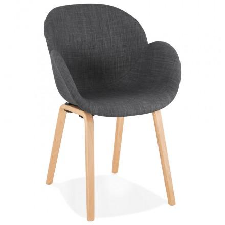 Chaise design scandinave avec accoudoirs CALLA en tissu pieds couleur naturelle (gris anthracite)