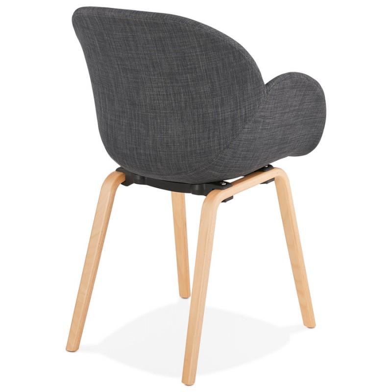 Chaise design scandinave avec accoudoirs CALLA en tissu pieds couleur naturelle (gris anthracite) - image 43109