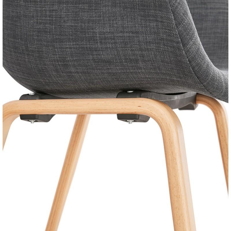 Chaise design scandinave avec accoudoirs CALLA en tissu pieds couleur naturelle (gris anthracite) - image 43113