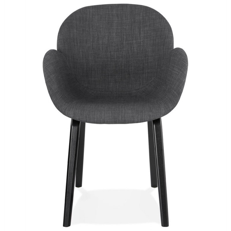 Scandinavian design chair with CALLA armrests in black foot fabric (anthracite grey) - image 43121