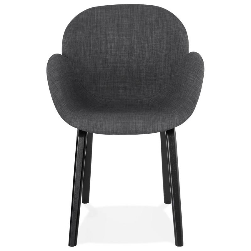 Chaise design scandinave avec accoudoirs CALLA en tissu pieds couleur noire (gris anthracite) - image 43121