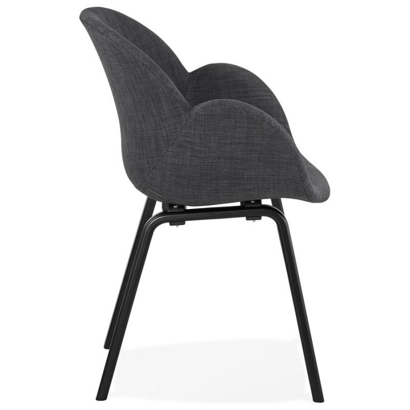 Chaise design scandinave avec accoudoirs CALLA en tissu pieds couleur noire (gris anthracite) - image 43122