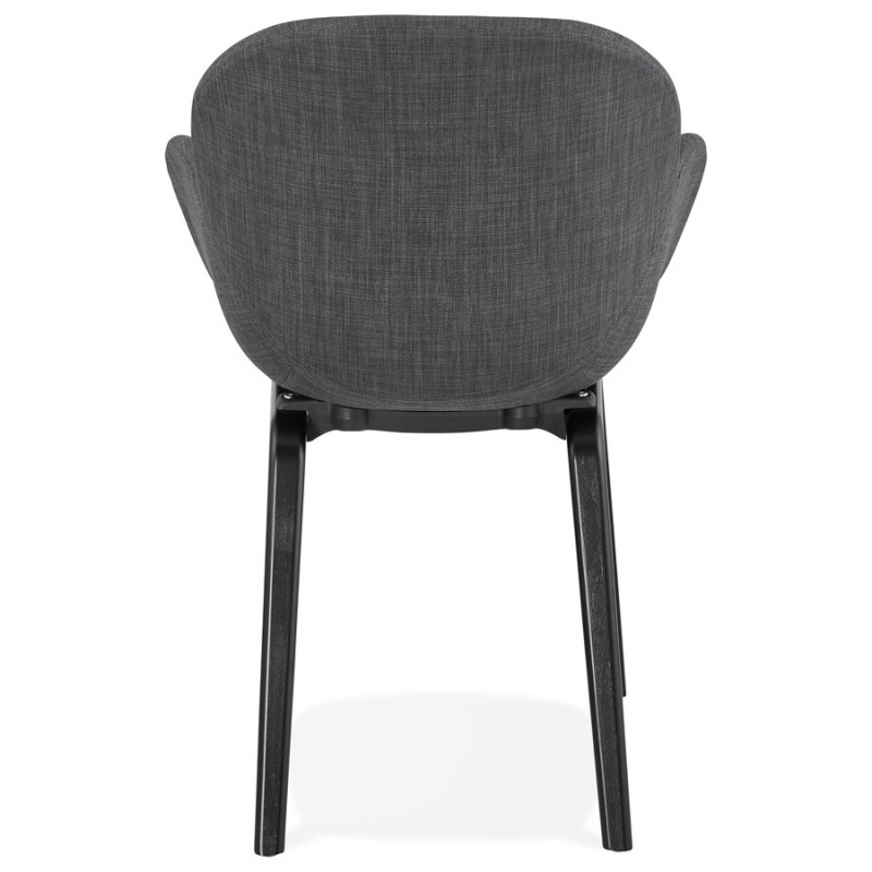 Scandinavian design chair with CALLA armrests in black foot fabric (anthracite grey) - image 43124