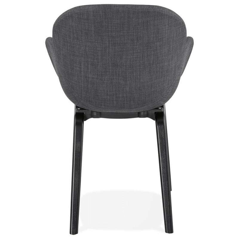 Chaise design scandinave avec accoudoirs CALLA en tissu pieds couleur noire (gris anthracite) - image 43124