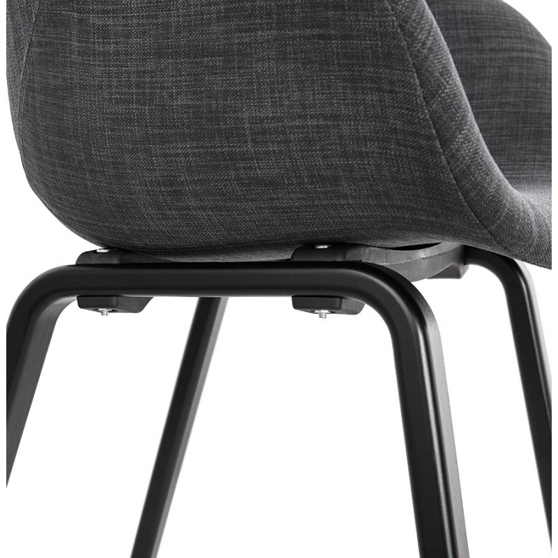 Chaise design scandinave avec accoudoirs CALLA en tissu pieds couleur noire (gris anthracite) - image 43130