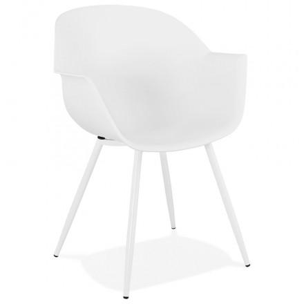 Skandinavischer Designstuhl mit COLZA-Polypropylen-Armlehnen (weiß)