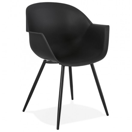 Scandinavian design chair with COLZA armrests in polypropylene (black)