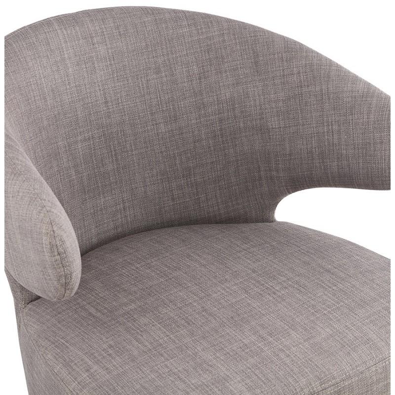 Fauteuil design YASUO en tissu pieds bois couleur noire (gris clair) - image 43168