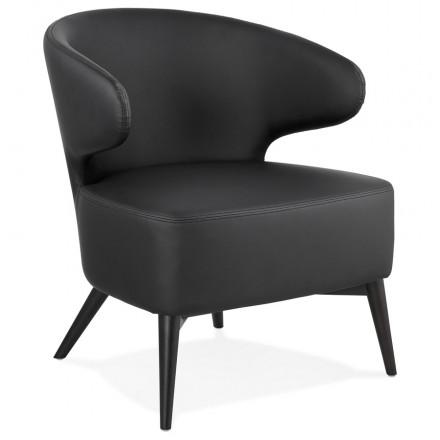Silla de diseño YASUO en patas de poliuretano negro (negro)