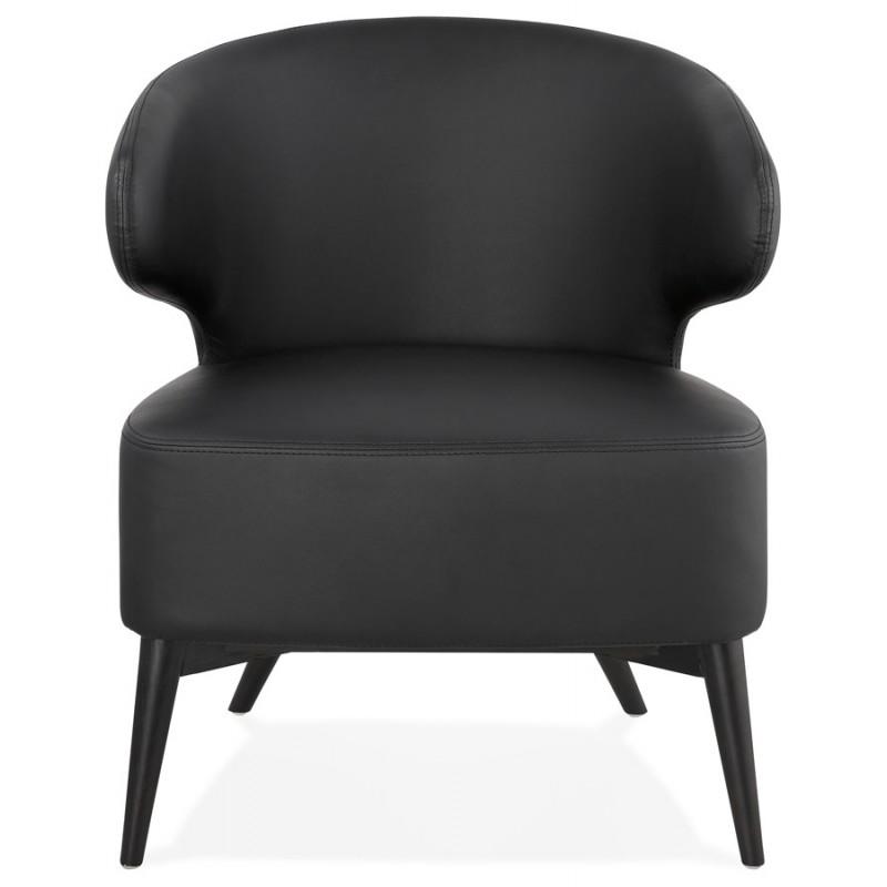 Fauteuil design  YASUO en polyuréthane pieds bois couleur noire (noir) - image 43176