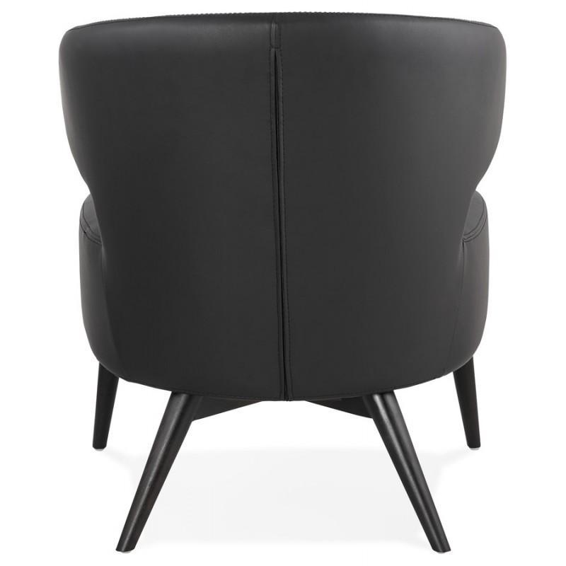 Fauteuil design  YASUO en polyuréthane pieds bois couleur noire (noir) - image 43179