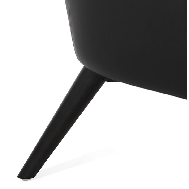 Fauteuil design  YASUO en polyuréthane pieds bois couleur noire (noir) - image 43186