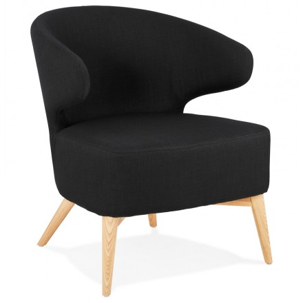 YASUO Designstuhl aus naturfarbenem Holzschuhstoff (schwarz)