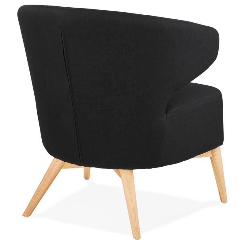 Fauteuil design YASUO en tissu pieds bois couleur naturelle (noir) - image 43190