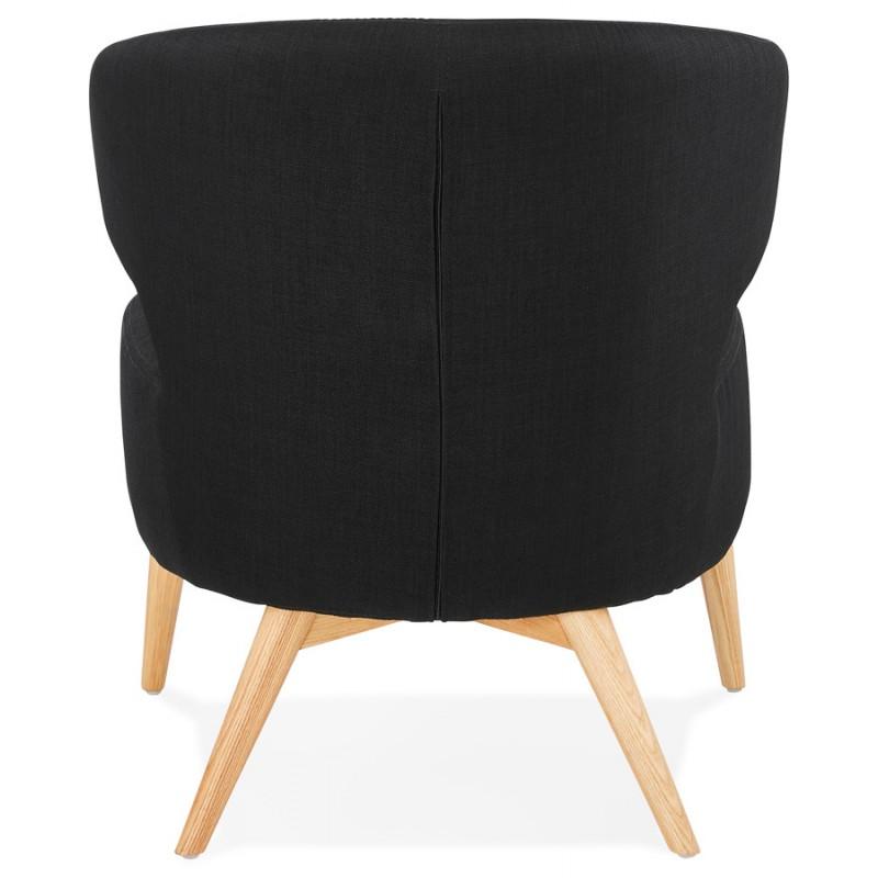 Fauteuil design YASUO en tissu pieds bois couleur naturelle (noir) - image 43191