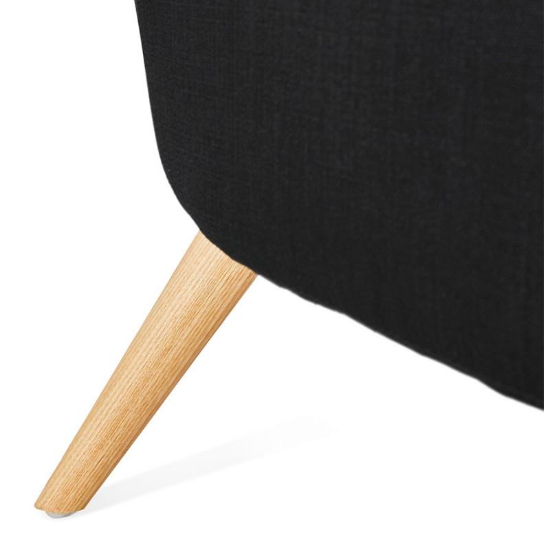Fauteuil design YASUO en tissu pieds bois couleur naturelle (noir) - image 43199