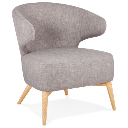 YASUO design chair in natural-coloured wooden foot fabric (light grey)