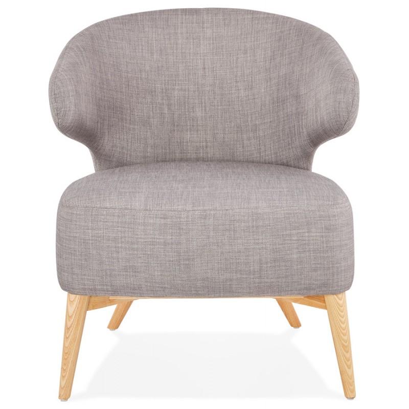 Fauteuil design YASUO en tissu pieds bois couleur naturelle (gris clair) - image 43201