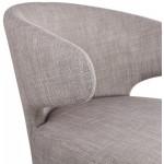 Fauteuil design YASUO en tissu pieds bois couleur naturelle (gris clair)