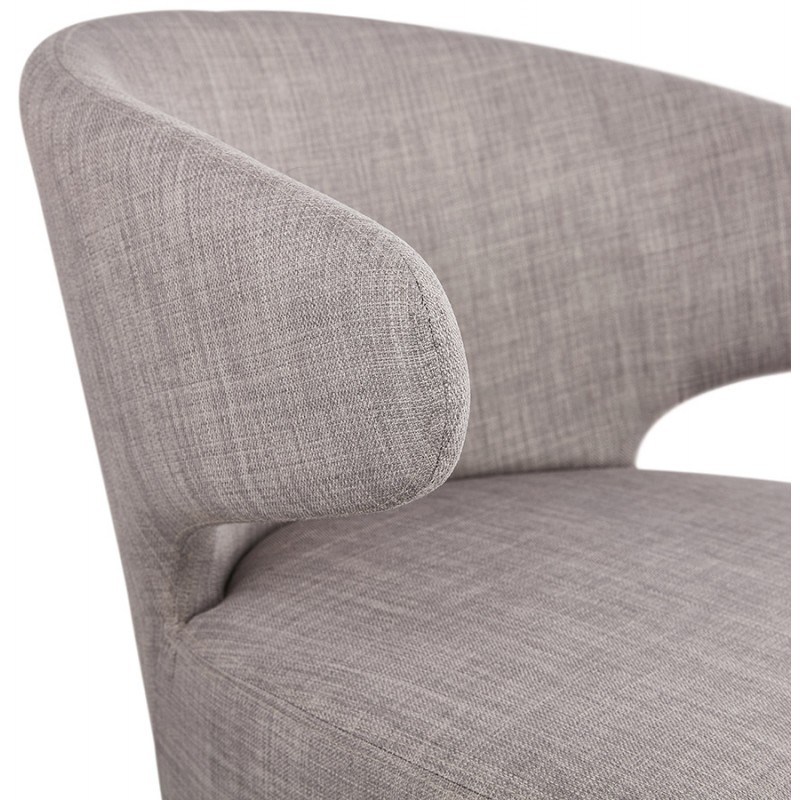 YASUO design chair in natural-coloured wooden foot fabric (light grey) - image 43206