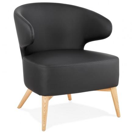 Silla de diseño YASUO en patas de poliuretano de color natural de madera (negro)