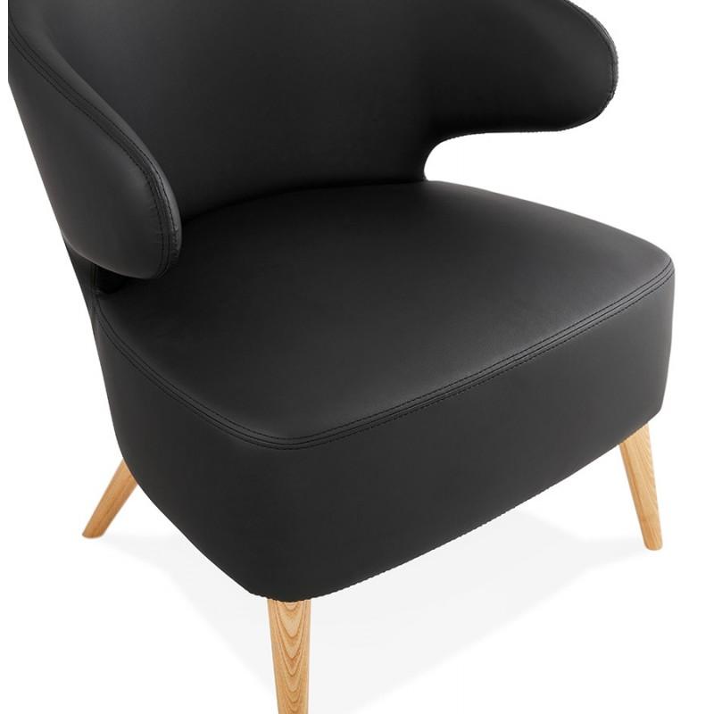 Fauteuil design YASUO en polyuréthane pieds bois couleur naturelle (noir) - image 43216