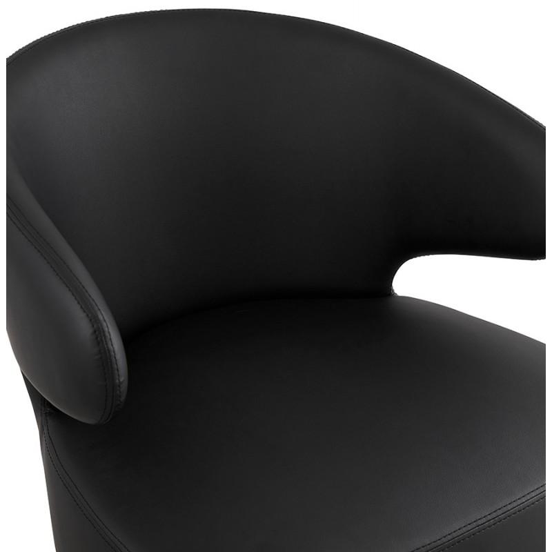 Fauteuil design YASUO en polyuréthane pieds bois couleur naturelle (noir) - image 43217