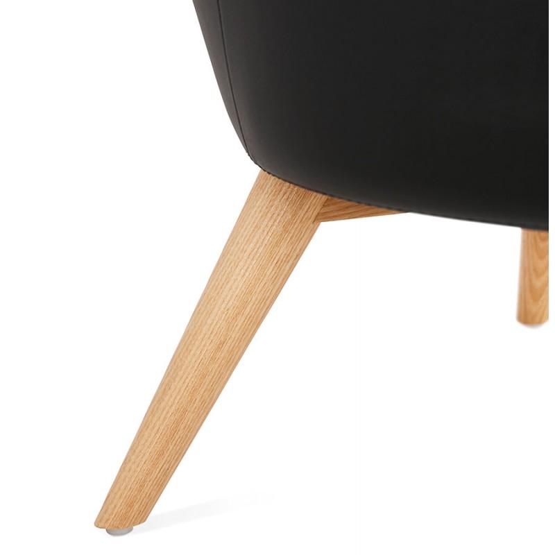 Fauteuil design YASUO en polyuréthane pieds bois couleur naturelle (noir) - image 43222